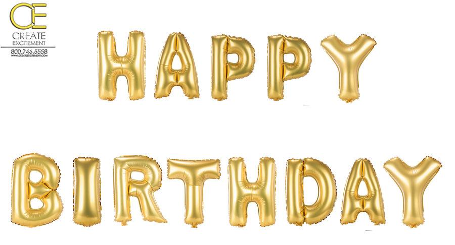 Gold birthday balloons