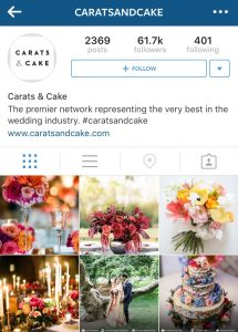 Carats and Cake Wedding Instagram